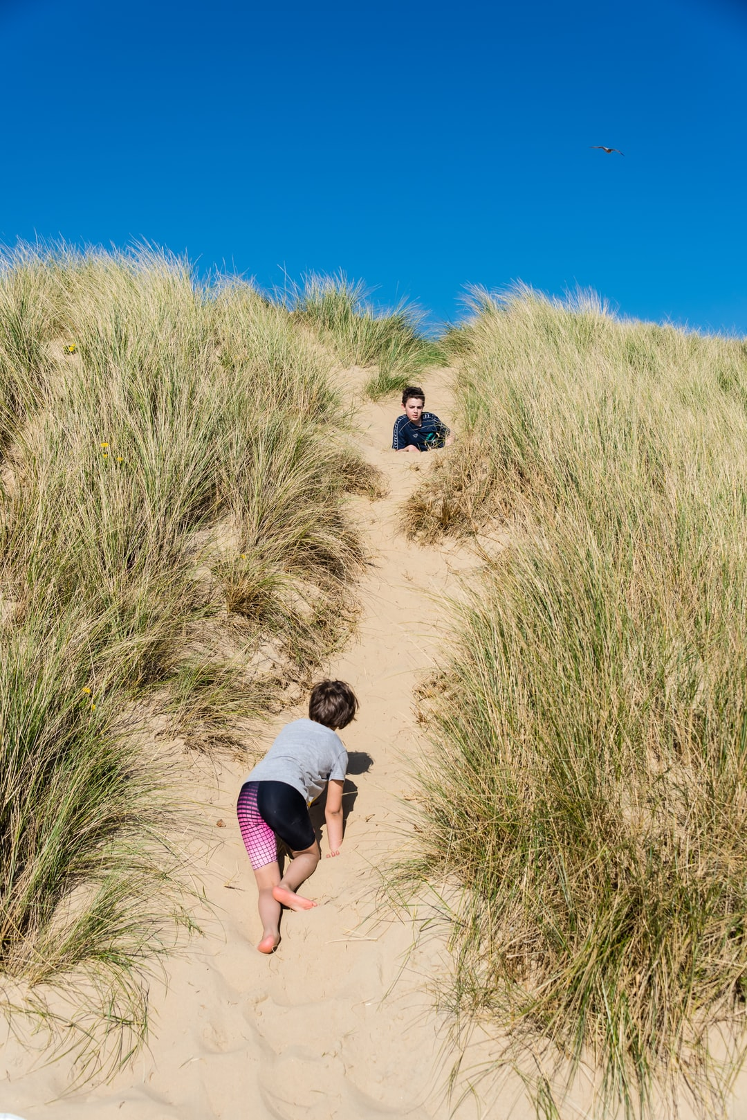 Children exploring the dunes at Camber Sands