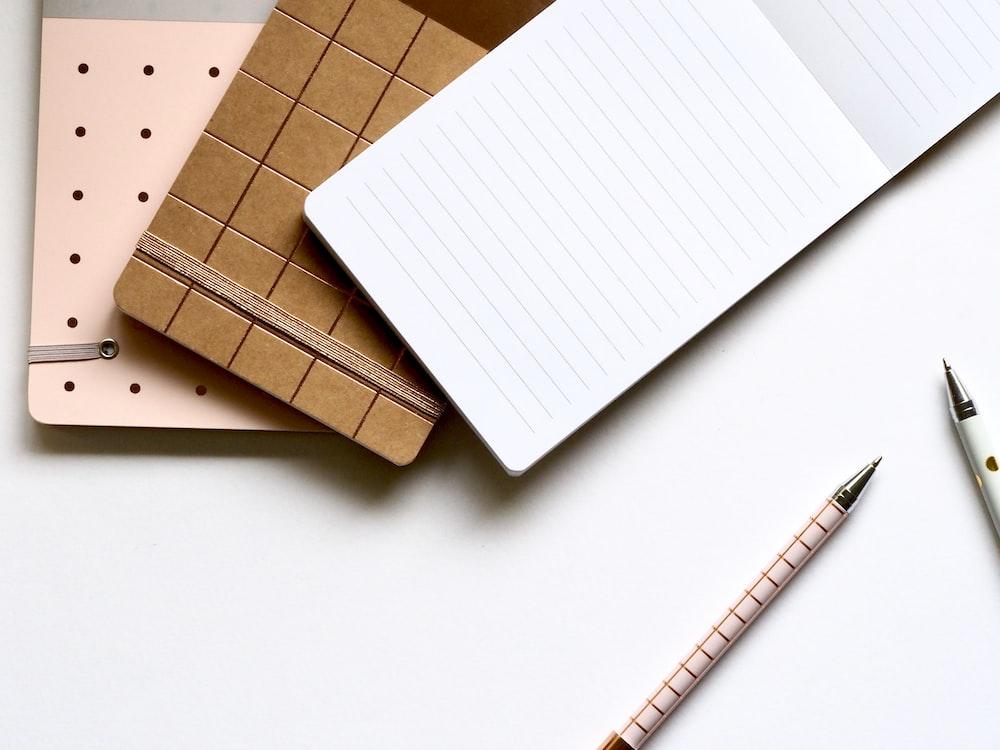 white pen on table