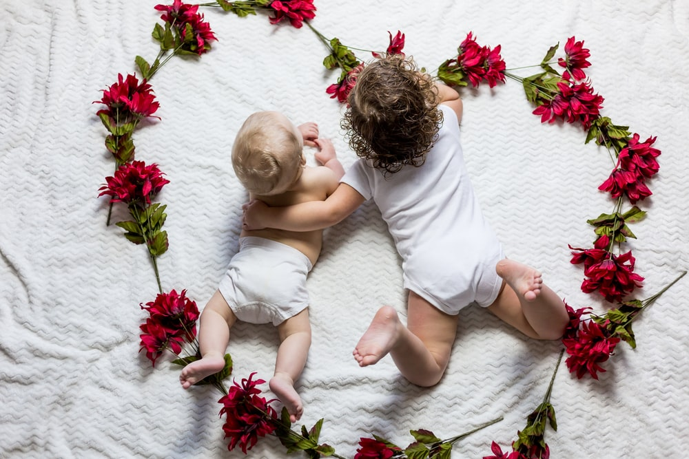 two baby's lying surrounded by red petaled flowers