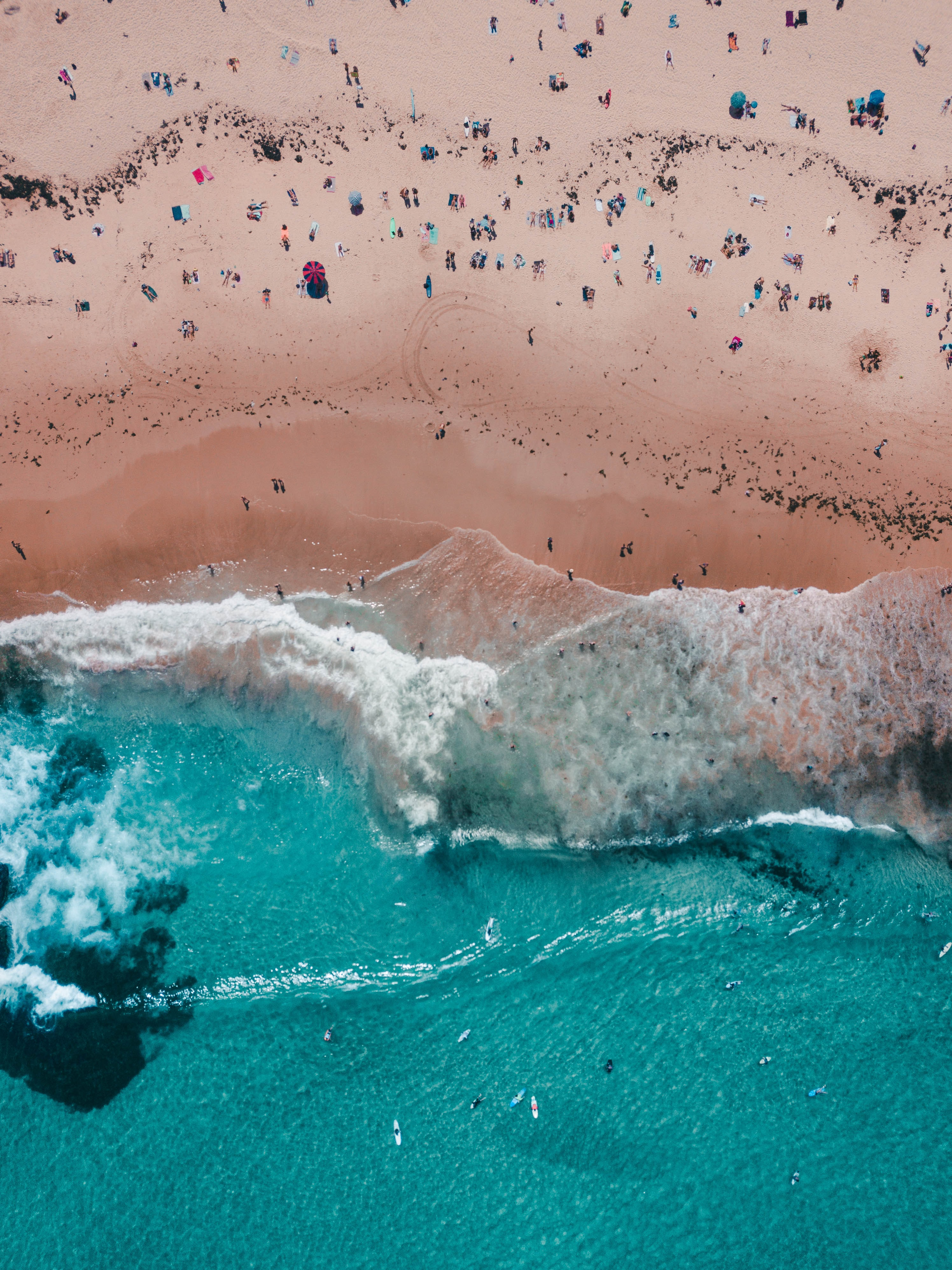 top view of people near beach shore
