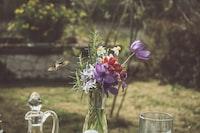 flowers on glass vase