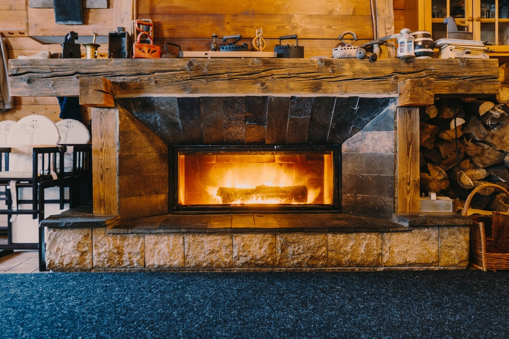 opened electric fireplace