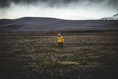 man standing on green grass field under gray sky wanderer teams background