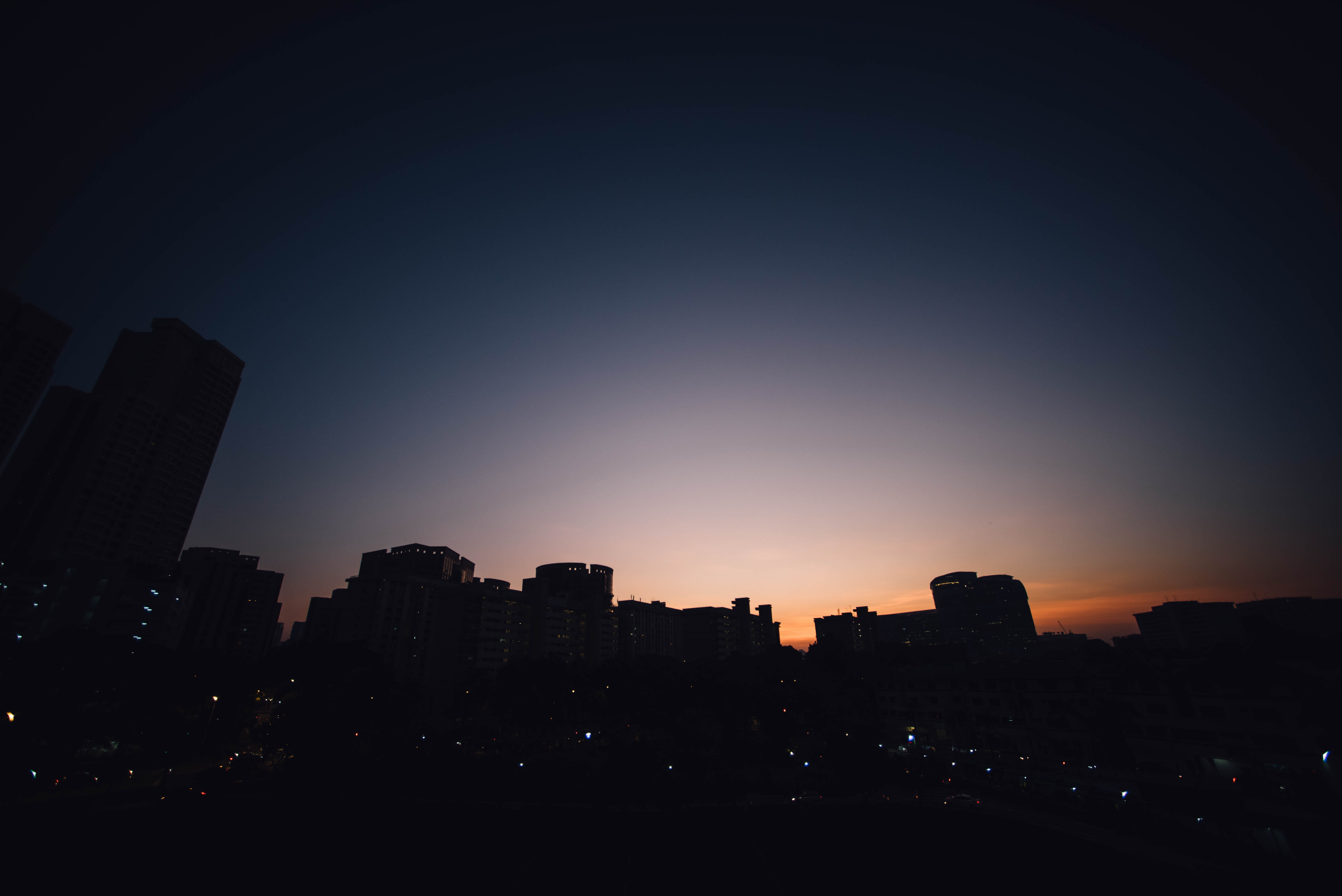 buildings silhouette during golden hour