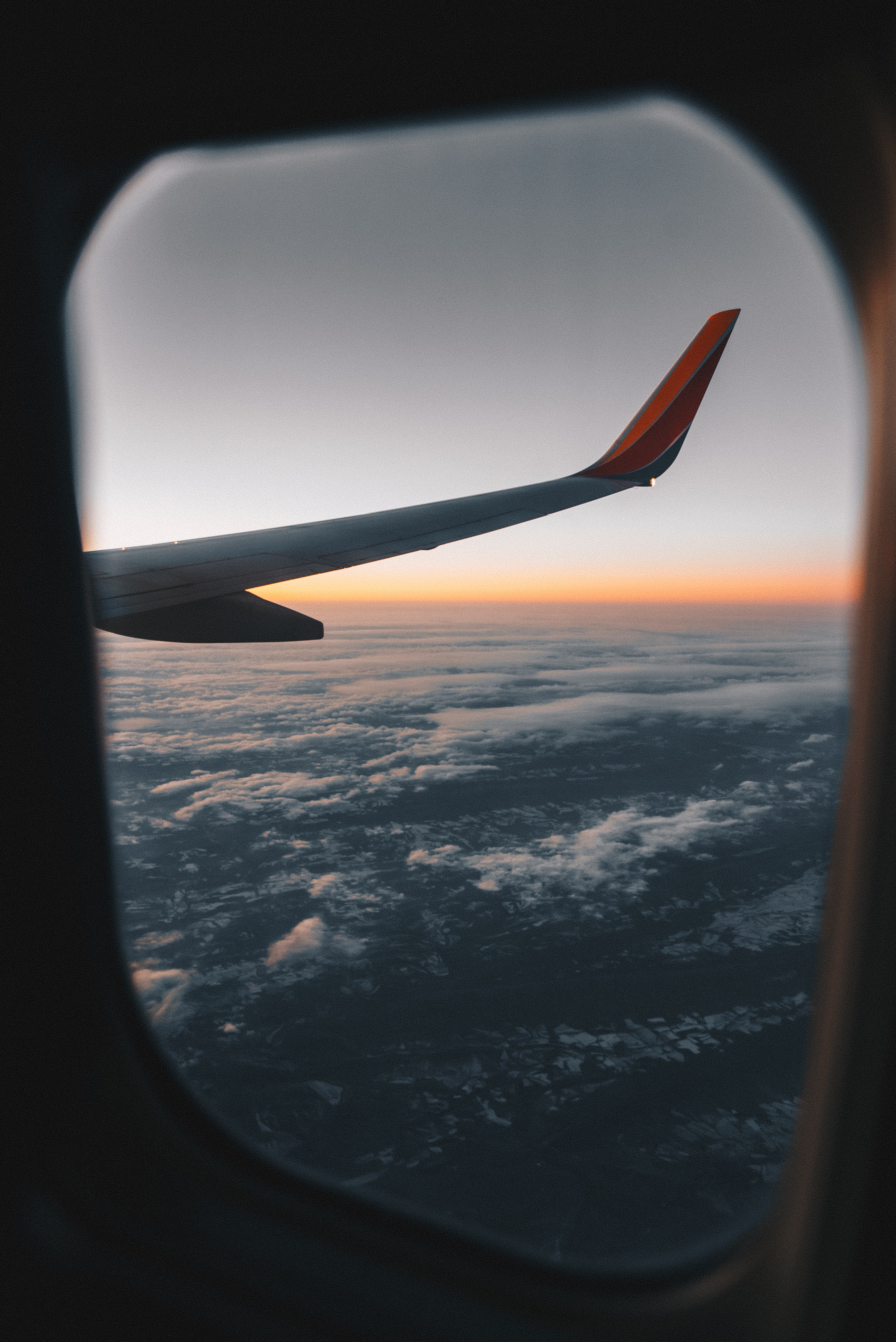 view of plane wings from airplane window