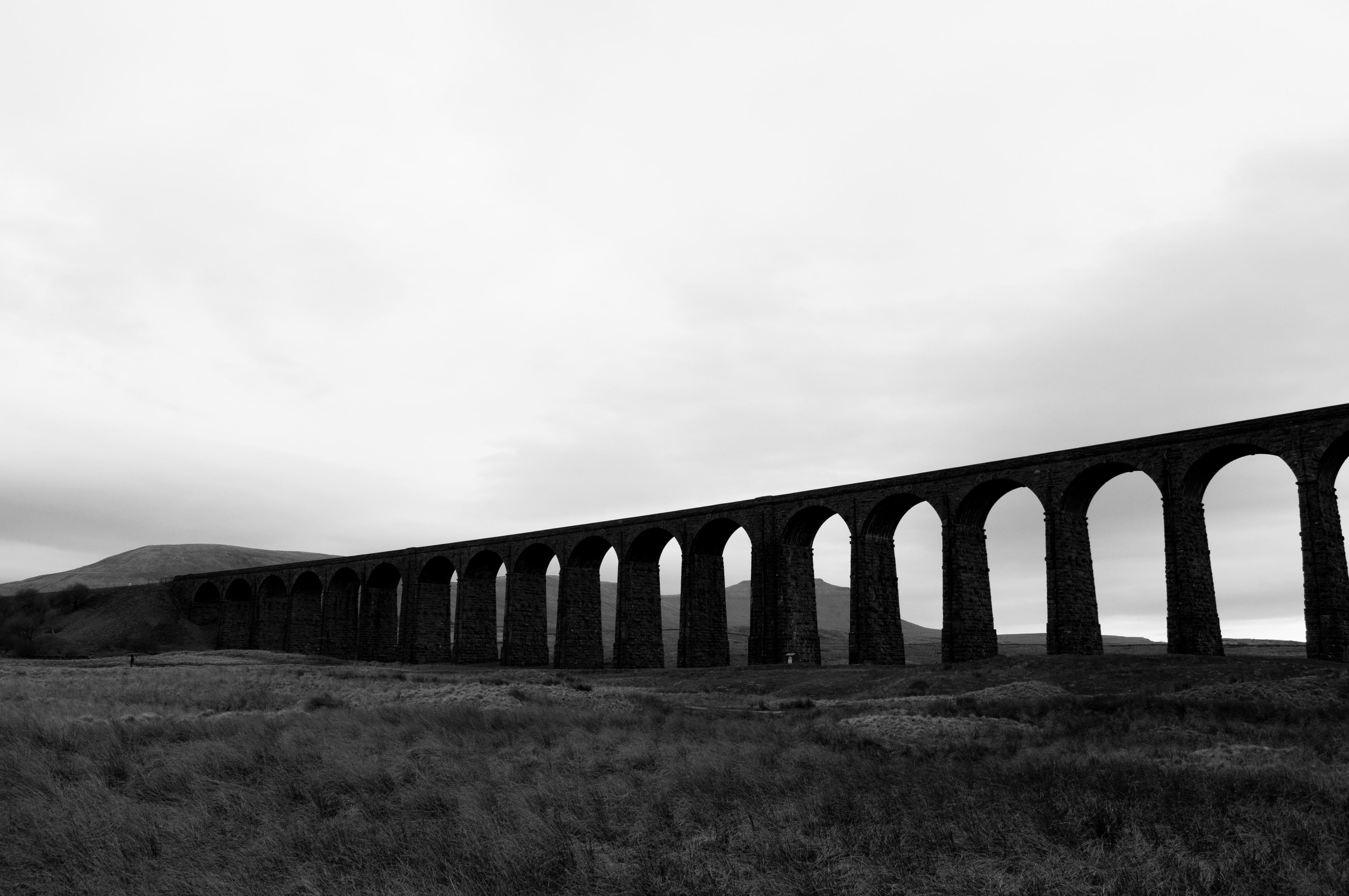 grayscale photo of bridge over the field