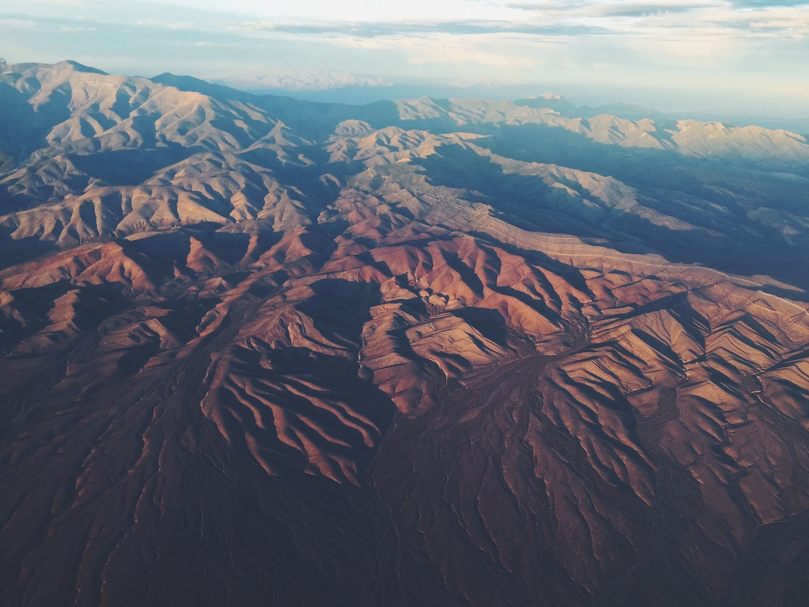 aerial photography of brown and green mountain range