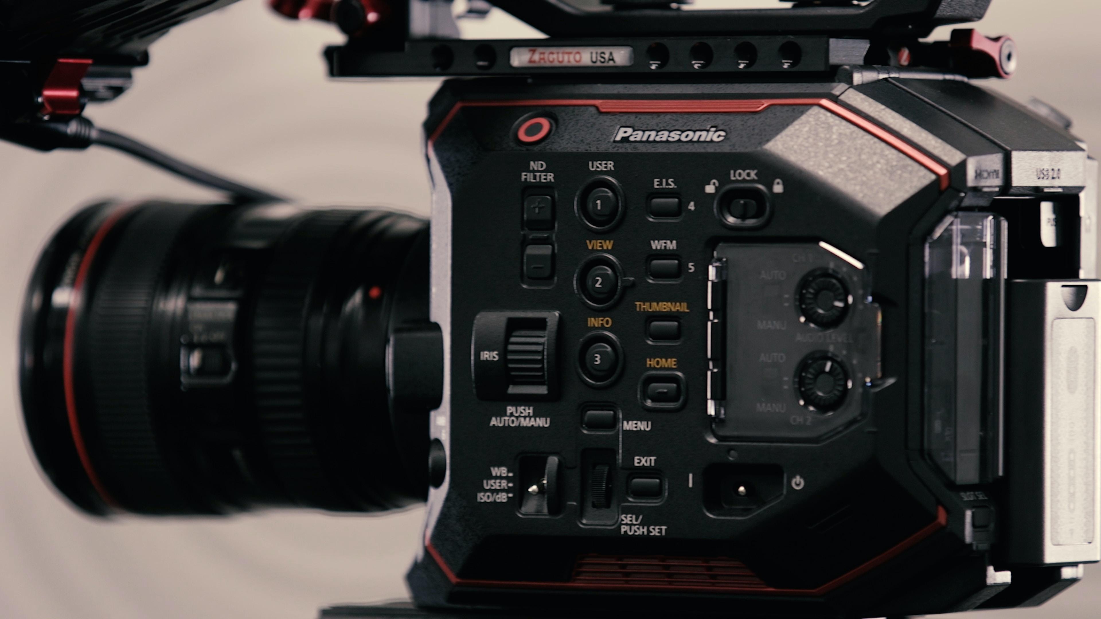 black Panasonic DSLR camera closeup photo