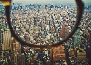 city buildings on eyeglasses view