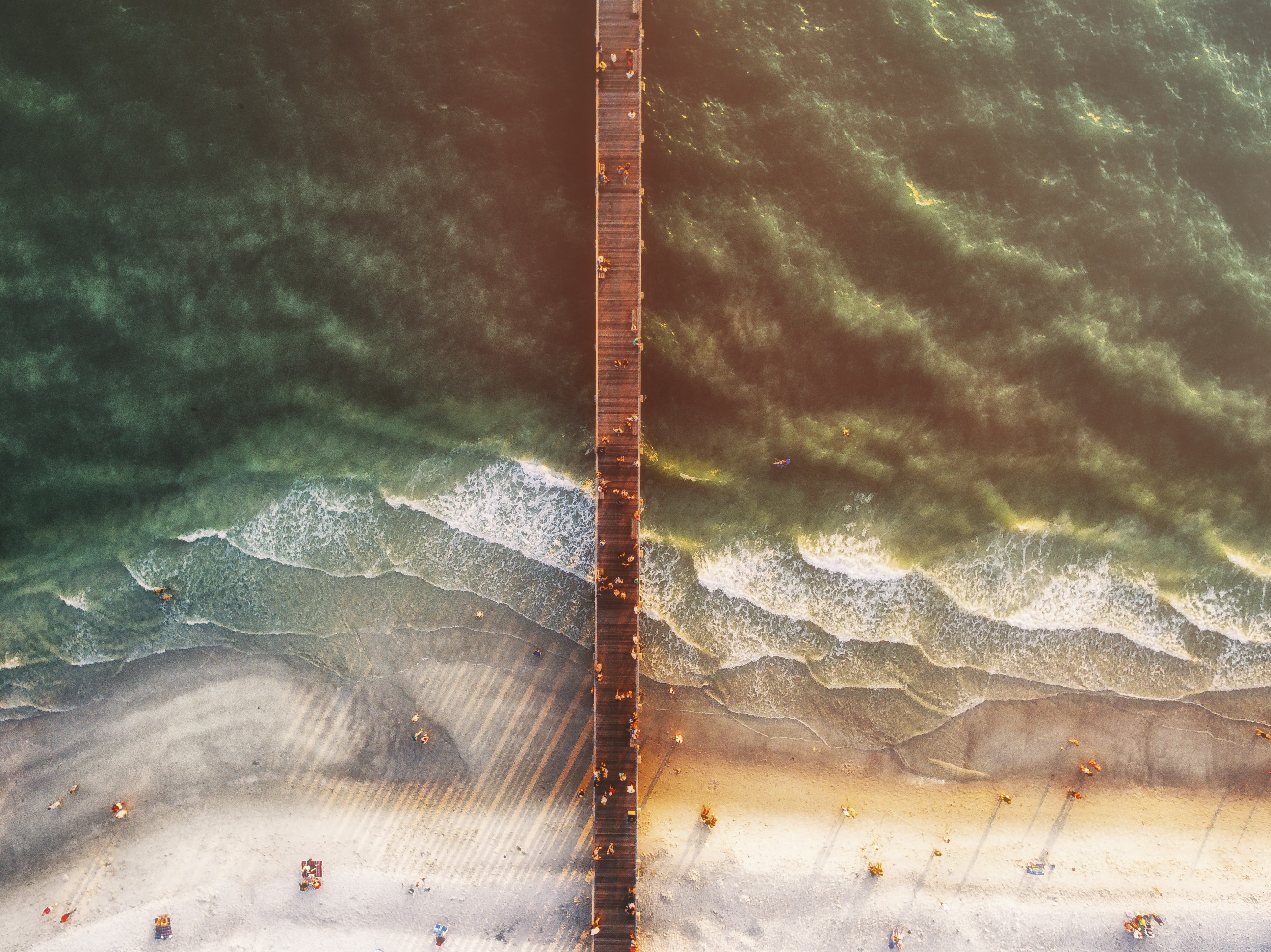 aerial photography of people at beach and sea dock
