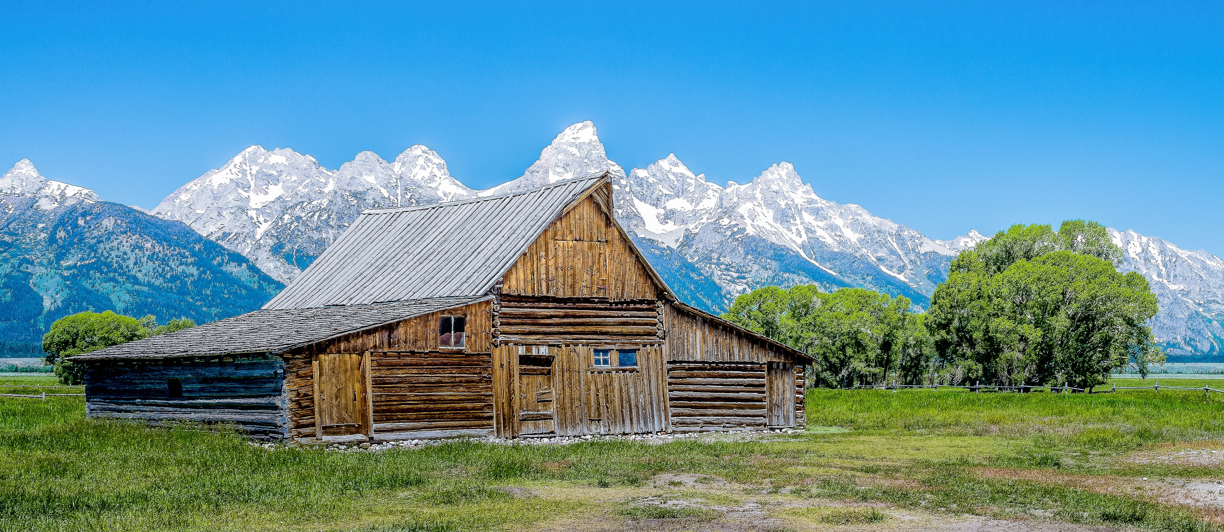 brown log house surrounded by green leaf trees with mountain alps on background