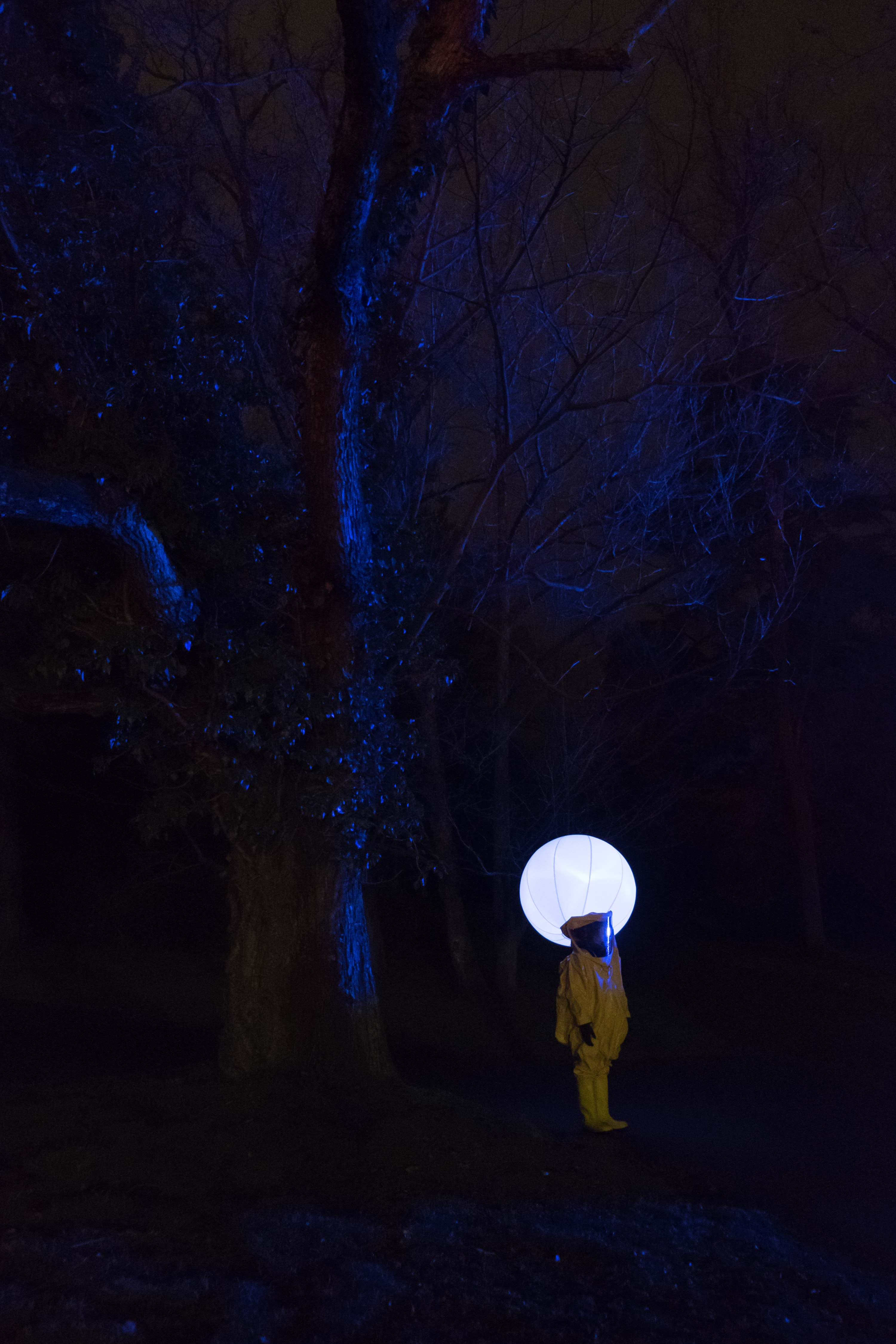 person in white outfit standing under leafless tree at nighttime