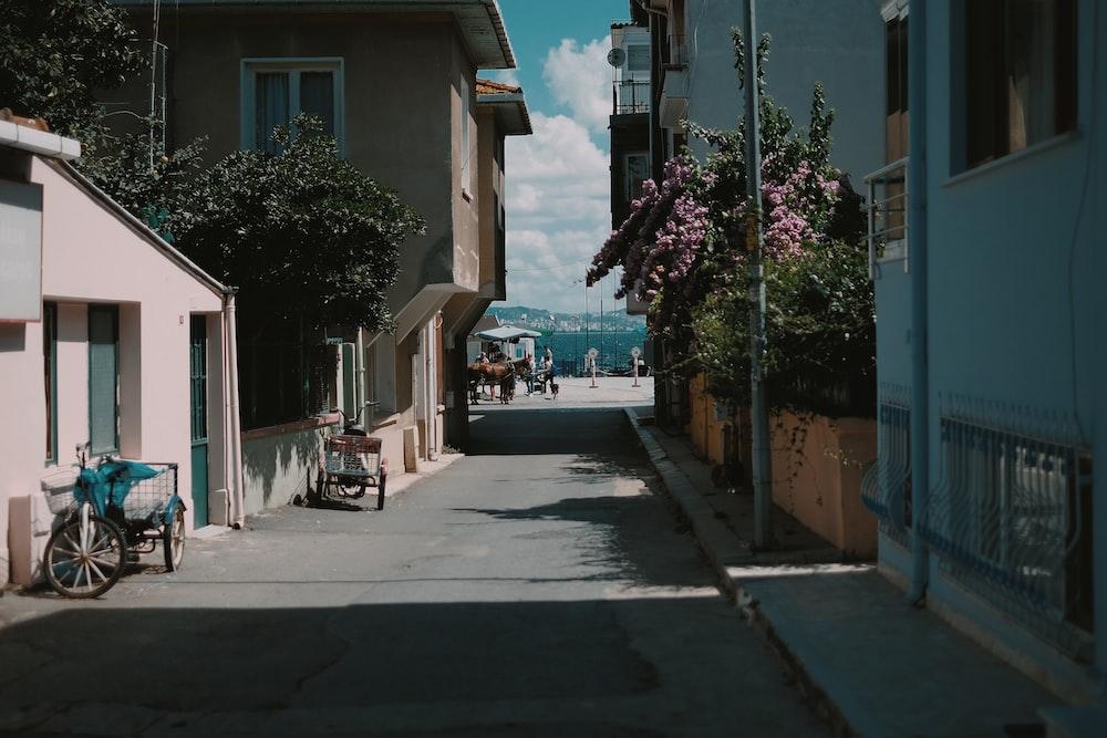 photography of narrow street