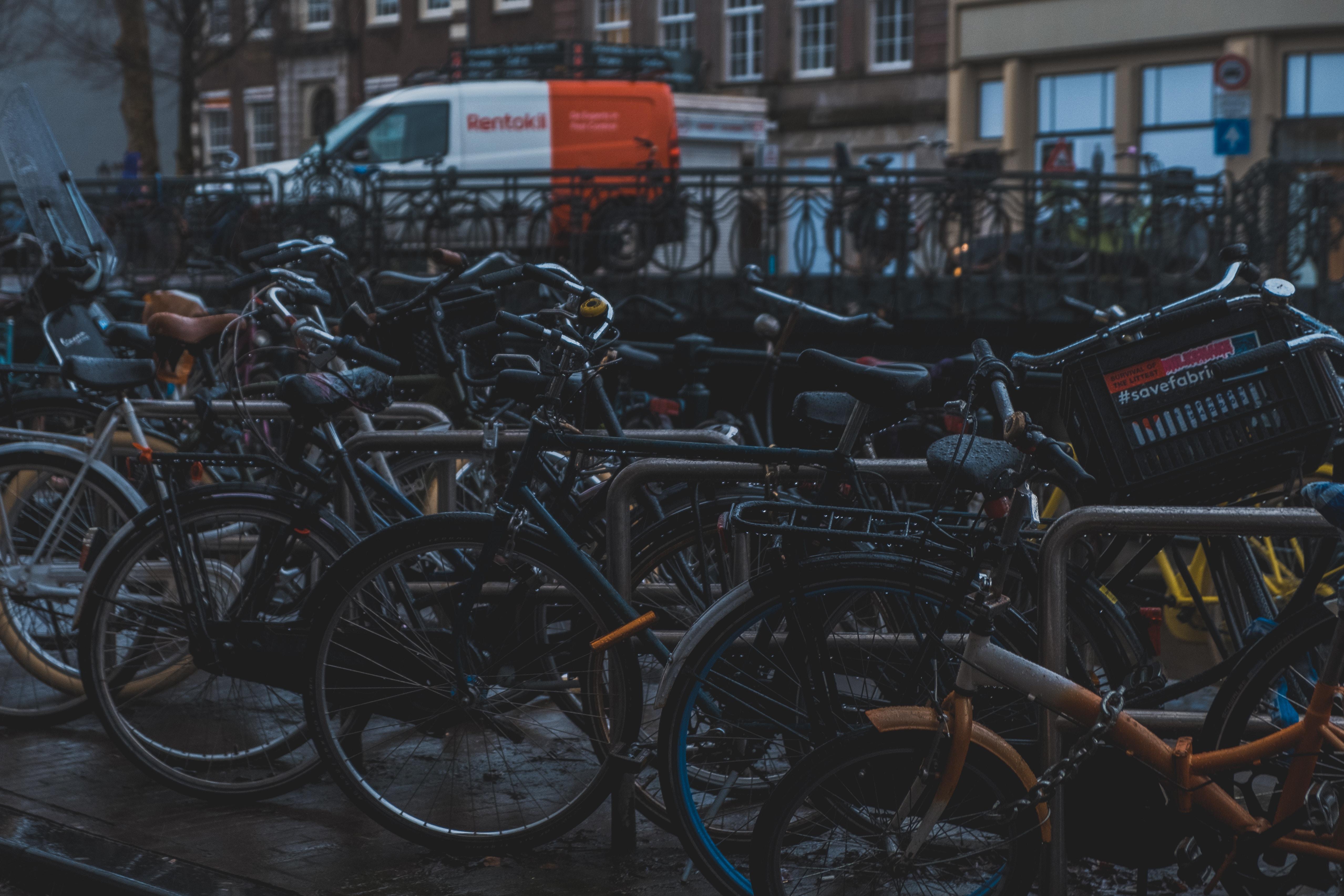 bicycle lot during daytime