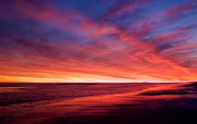 photography of orange sky emerald isle zoom background