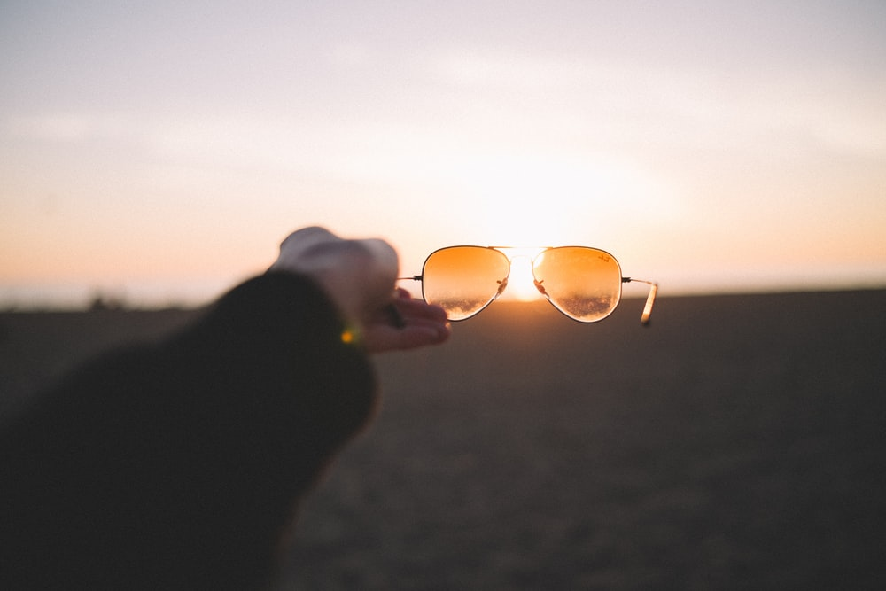 person holding brown sunglasses