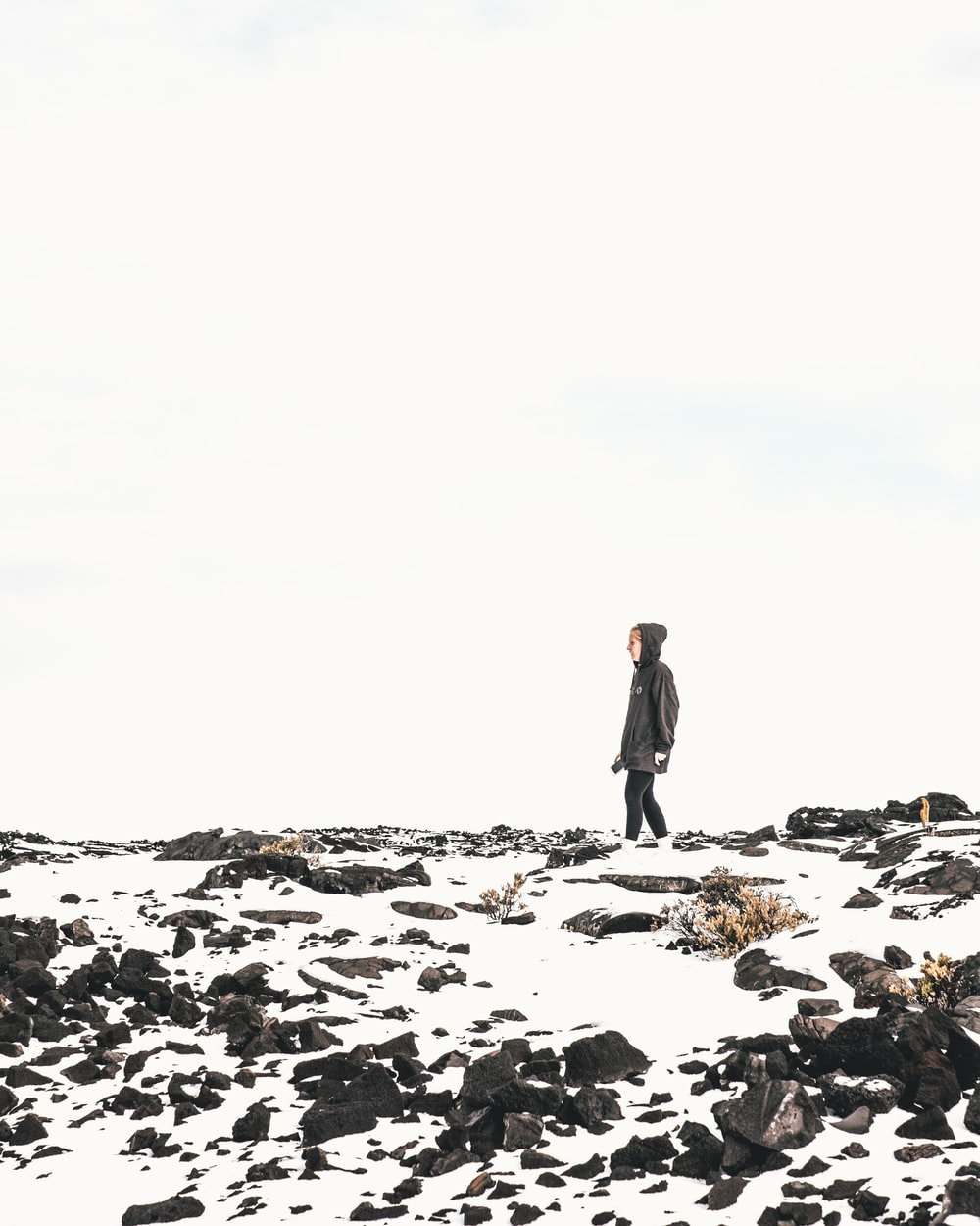 person standing on snowfield