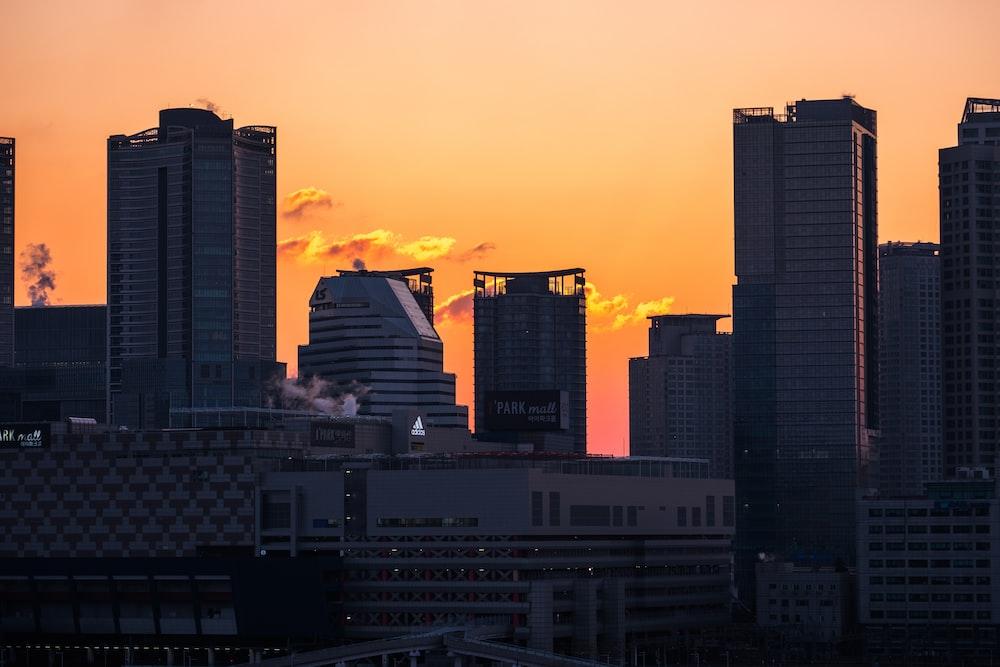 high rise buildings during sundown