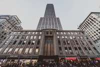 low angle photography of gray building