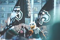 two Philadelphia Eagles flags