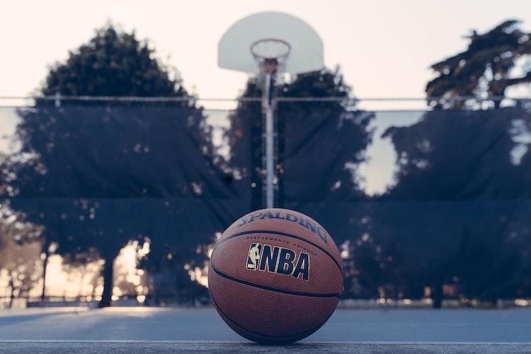 NBA Spalding Basketball on an open court