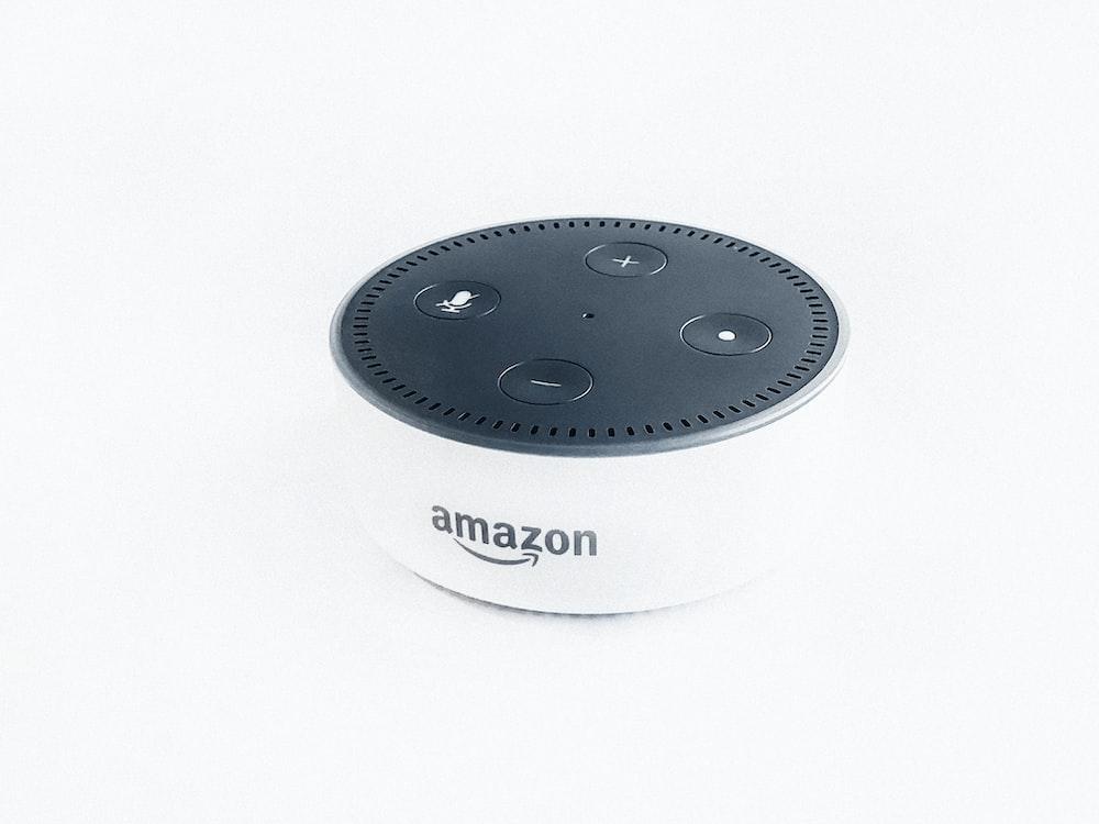 white and black Amazon Echo dot