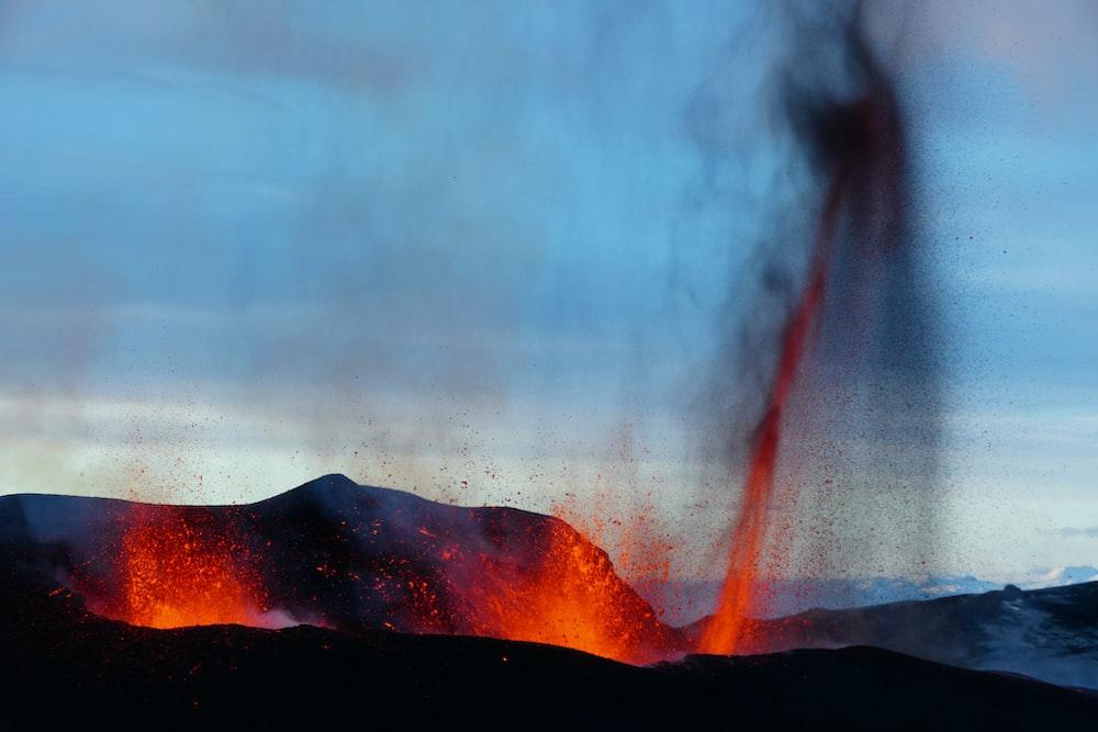 scenery of volcanic eruption