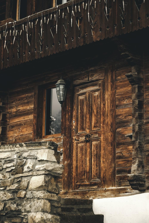 closed brown wooden door