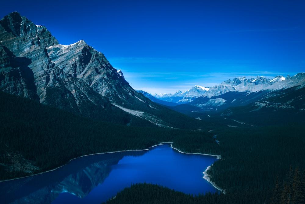 bird's eye view photo of river near mountain