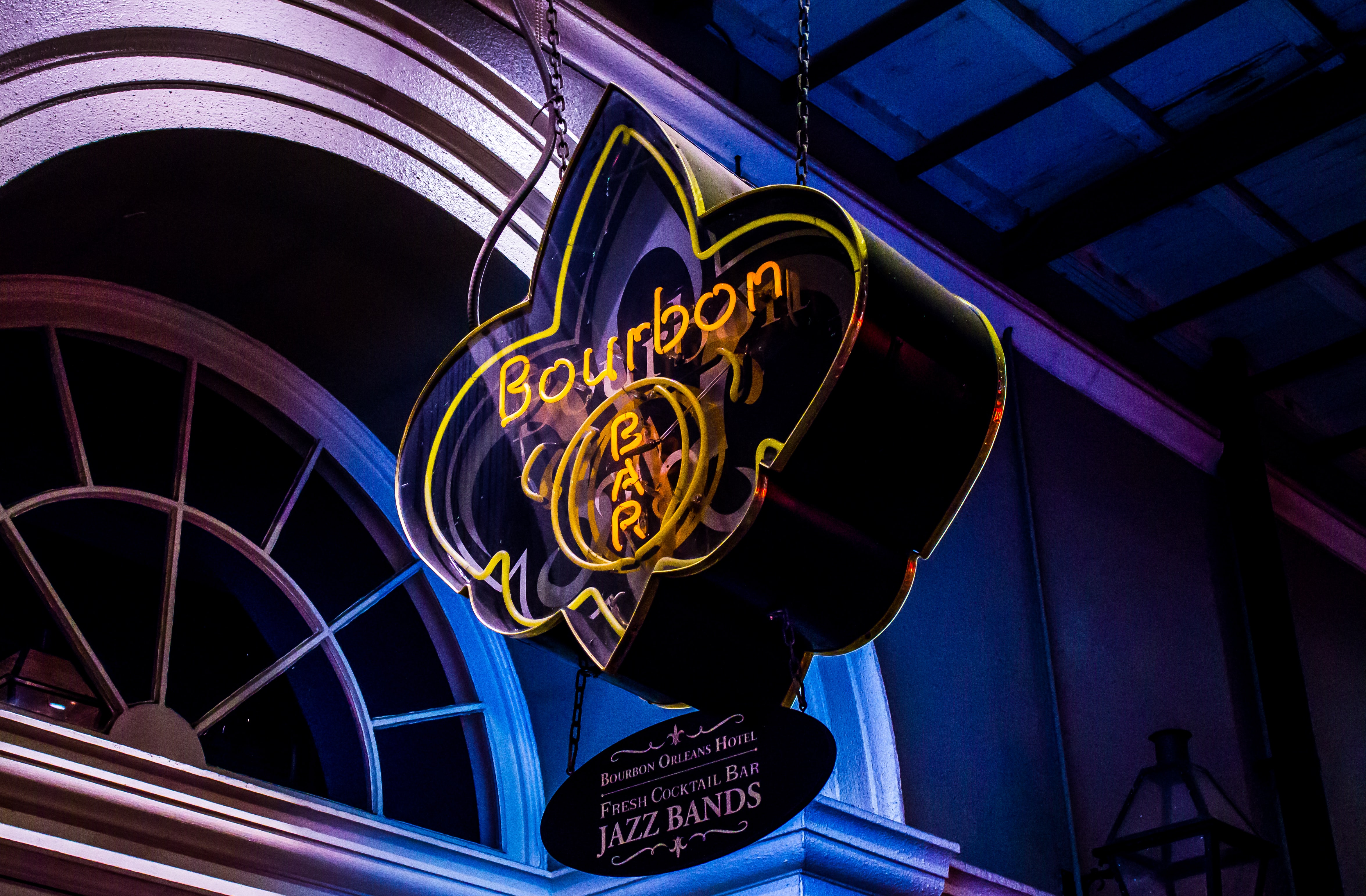 yellow and red Bourbon Jazz Bands signage