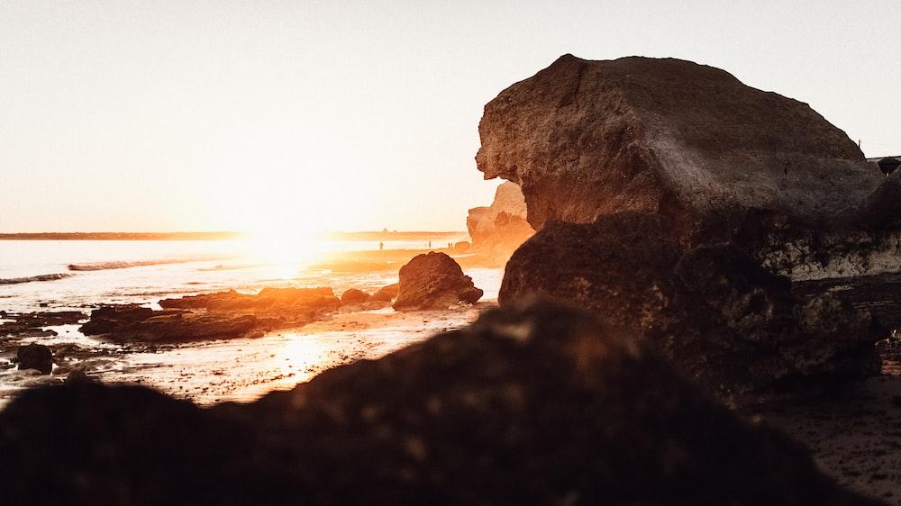 rock formation on seashore