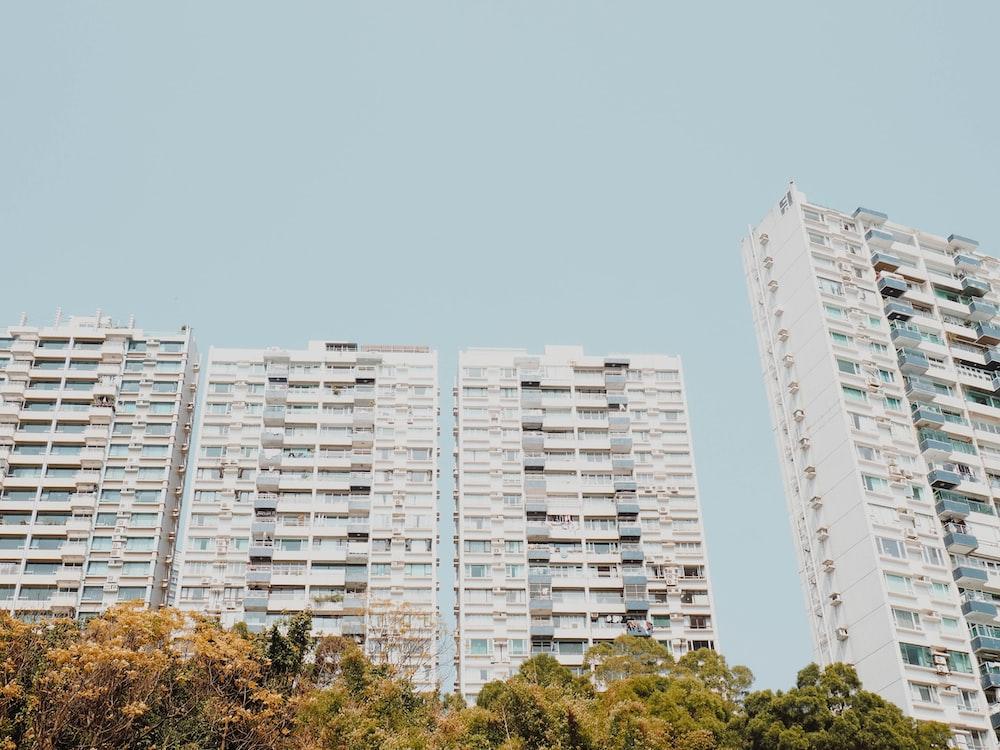four white concrete building under blue sky