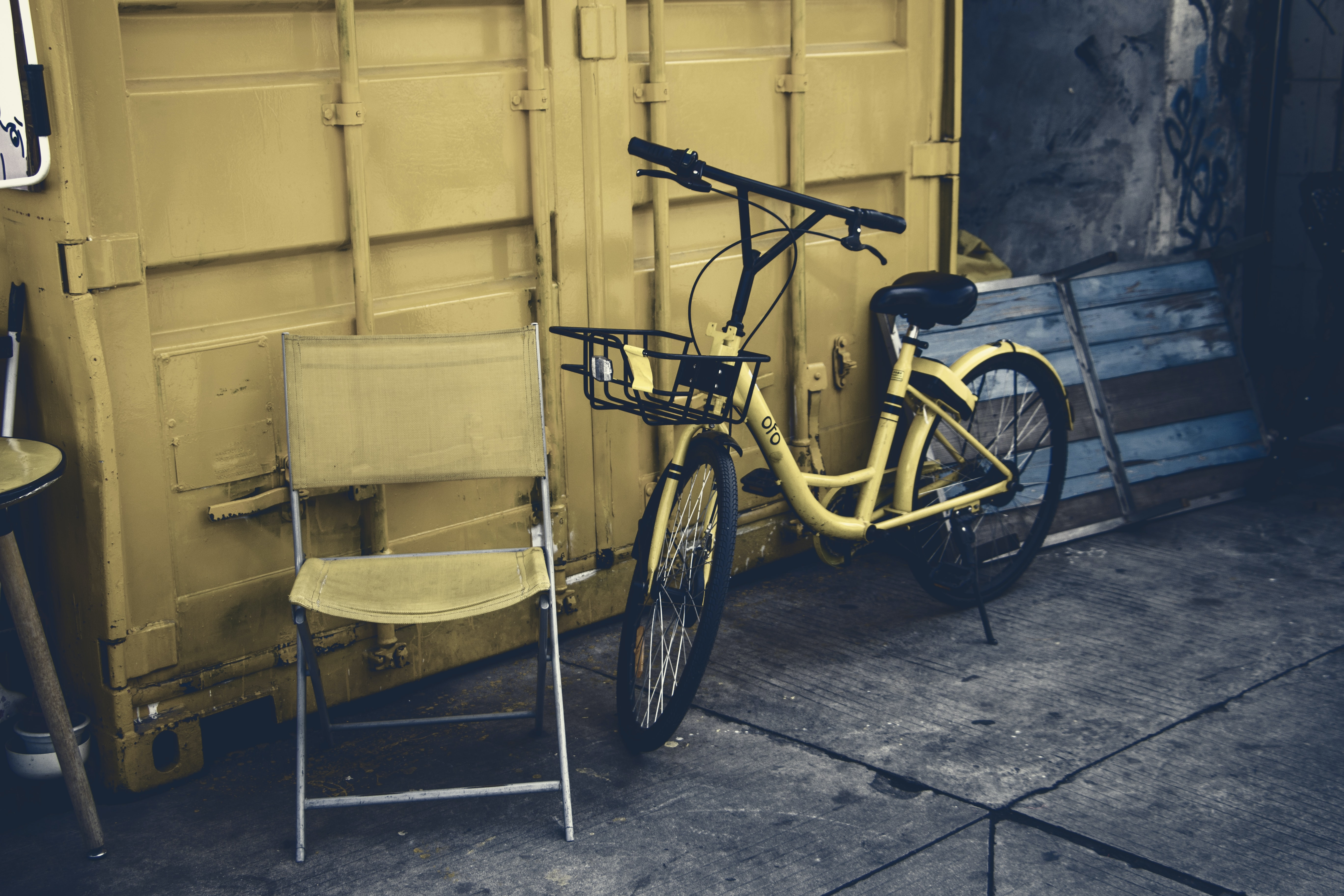 yellow city bike leaning on wall