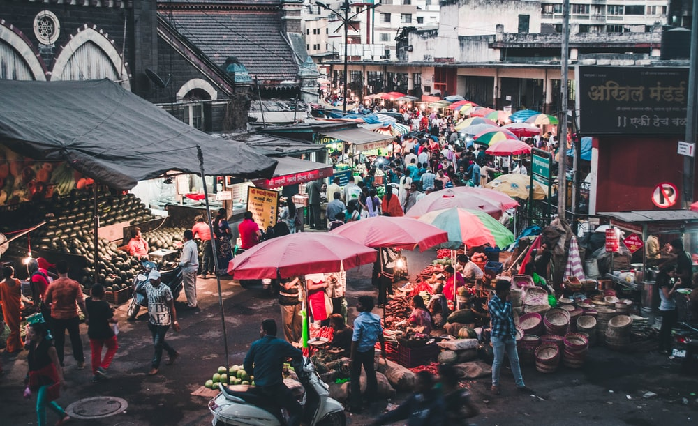 group of people in market