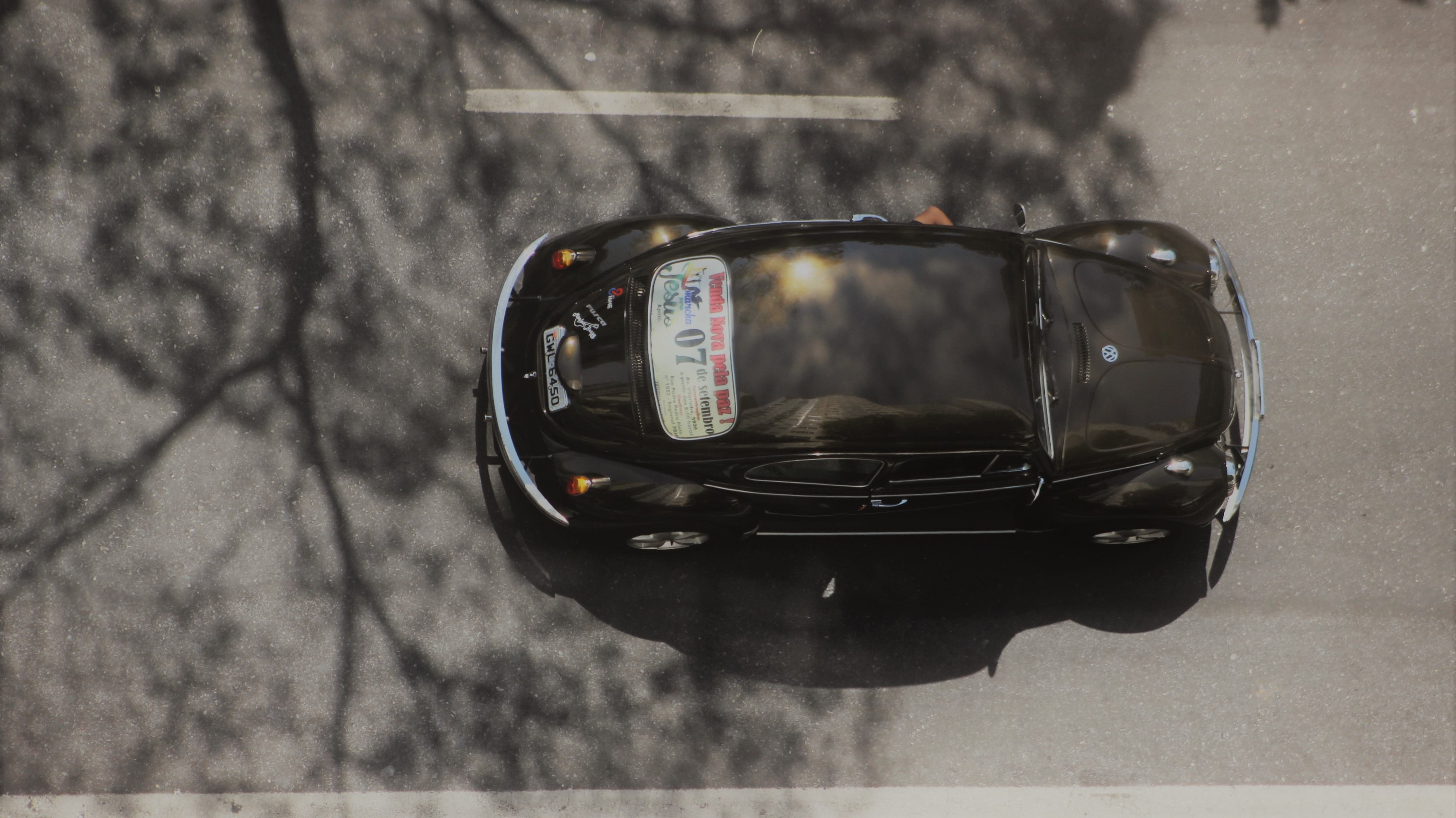high-angle photography of car on road