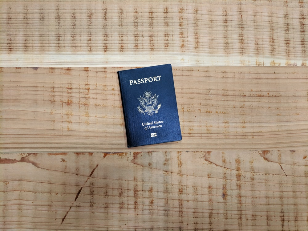 passport book on floor