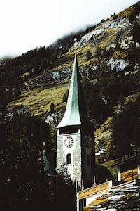 cathedral on mountain slope