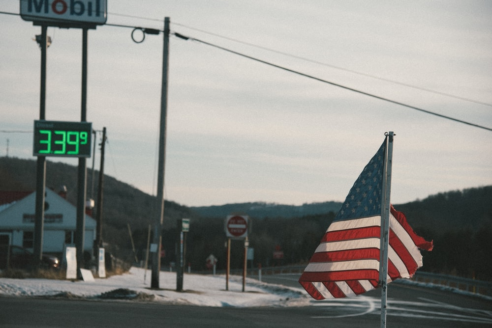 U.S.A flag near road signage