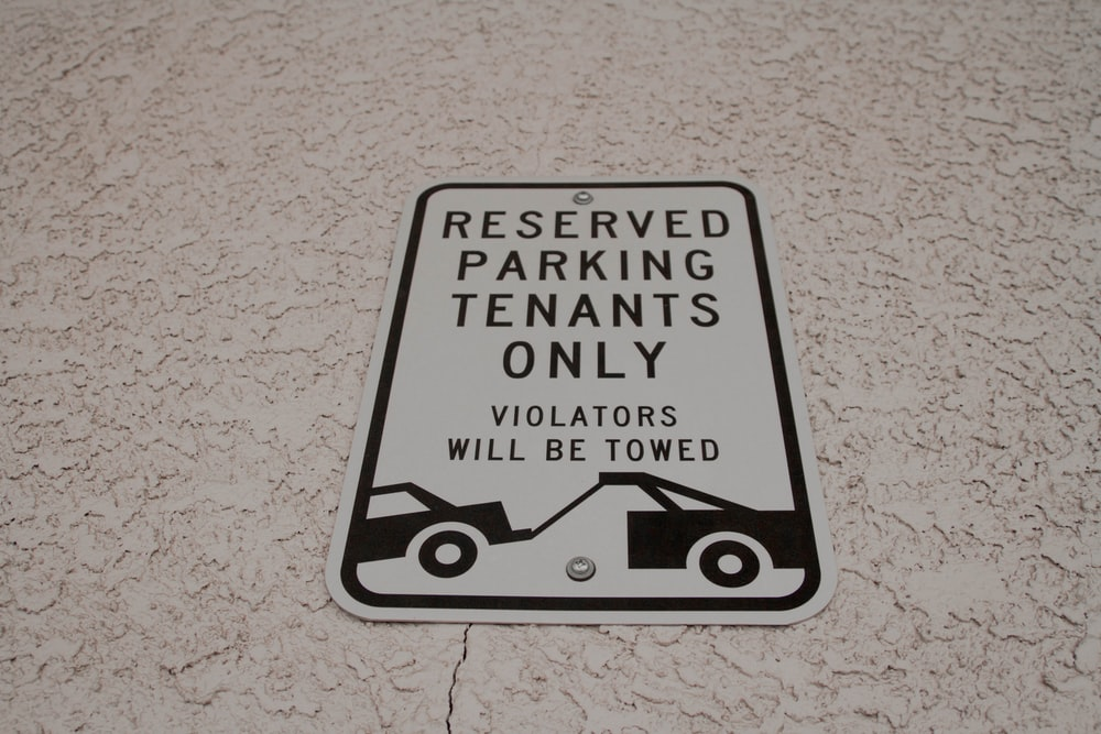 reserved parking tenants only signage