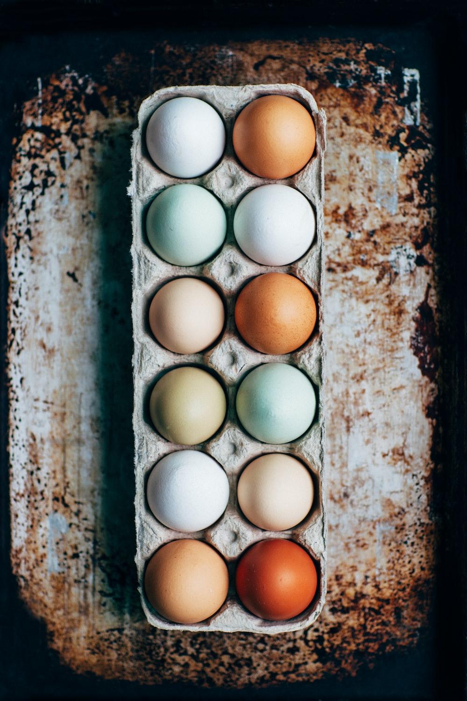 dozen eggs on tray