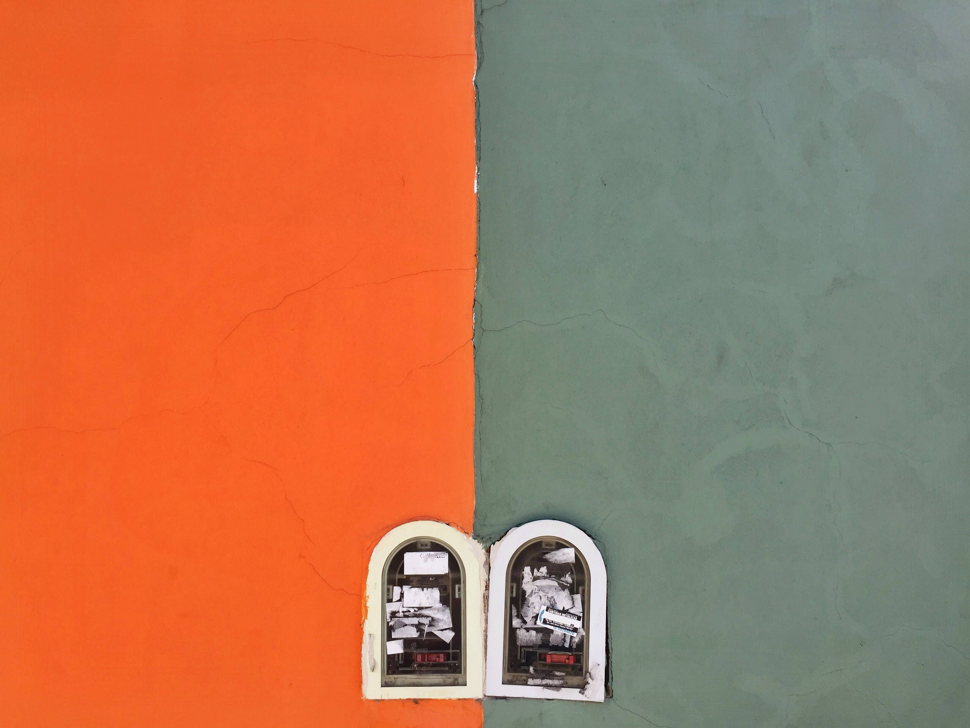 top view photography of orange and gray painted wall