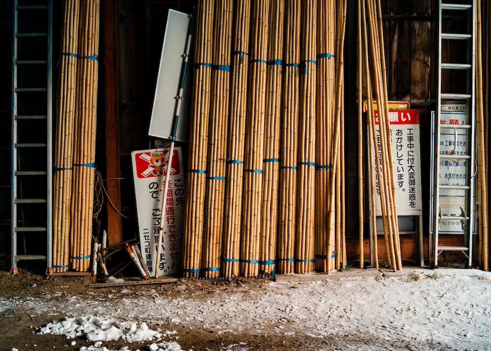 photo of brown bamboo shoot lot