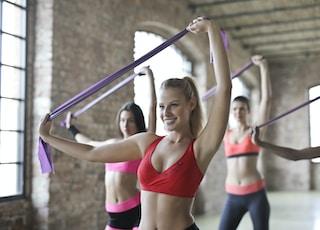 group of women doing yoga