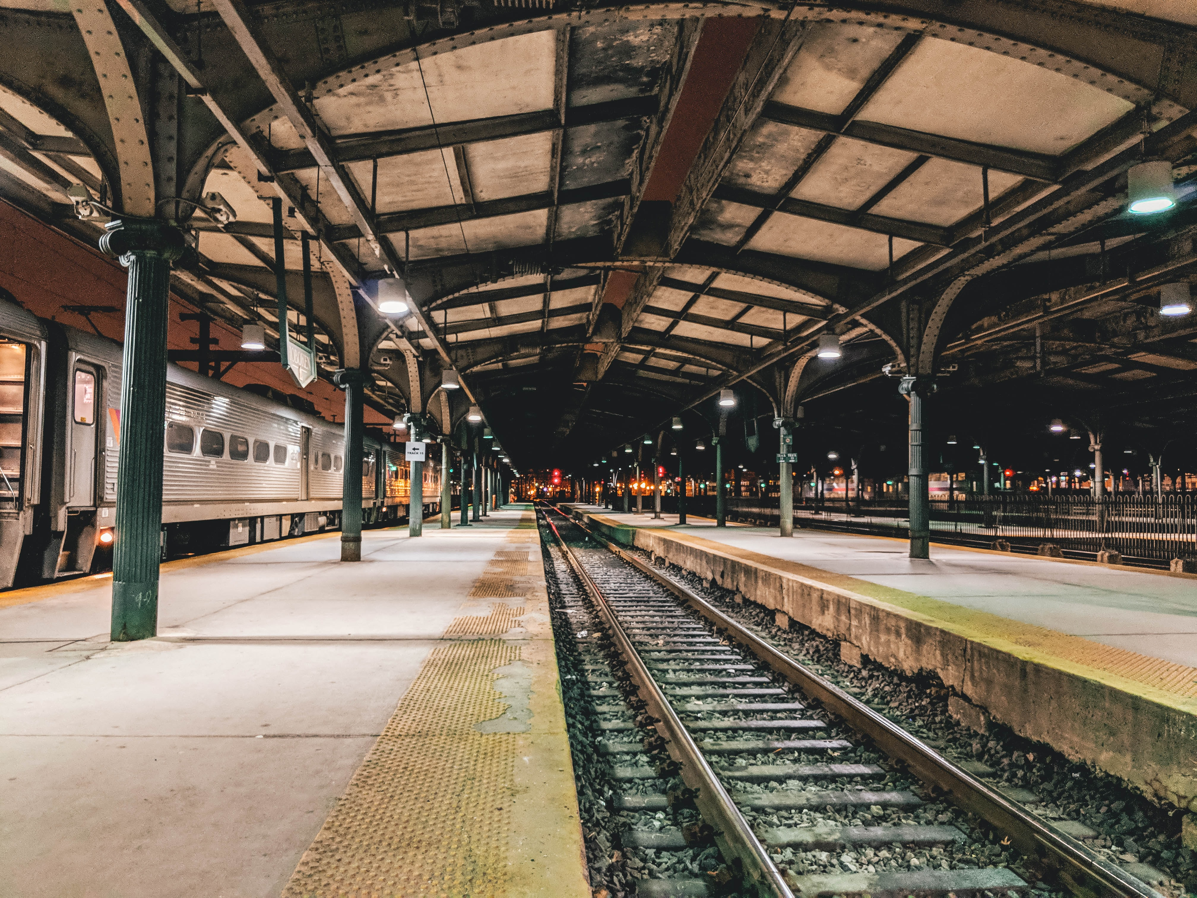 photo of empty train station during nighttime