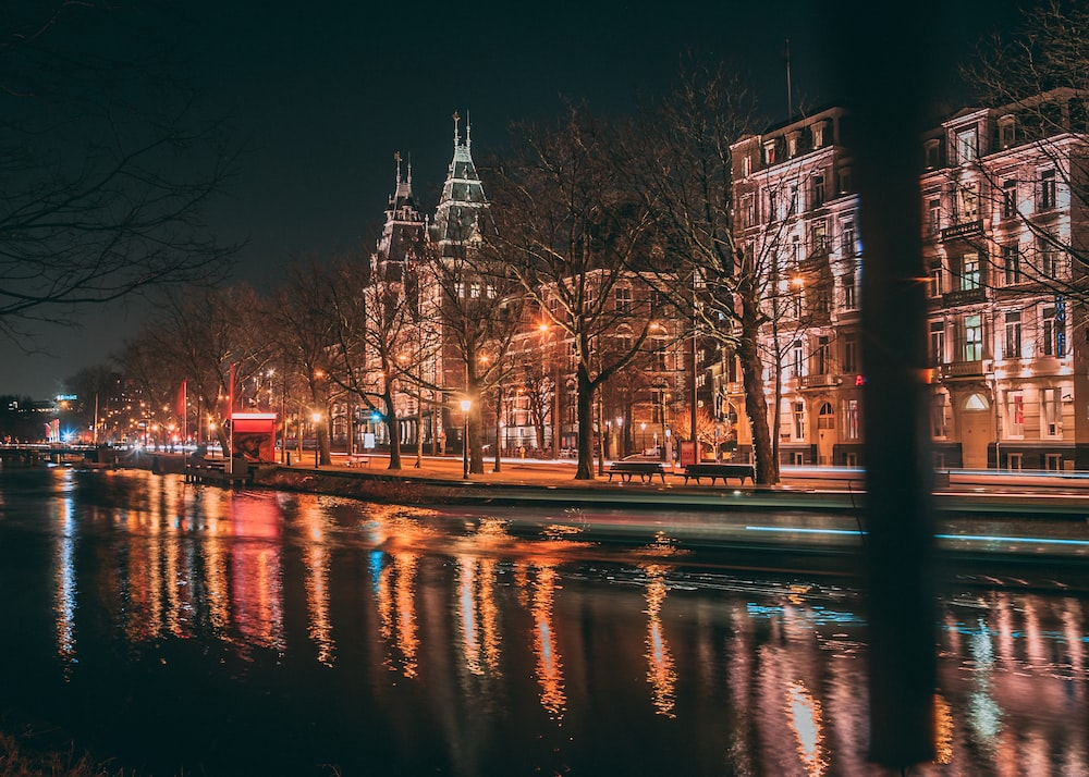 Amsterdam canals in the night