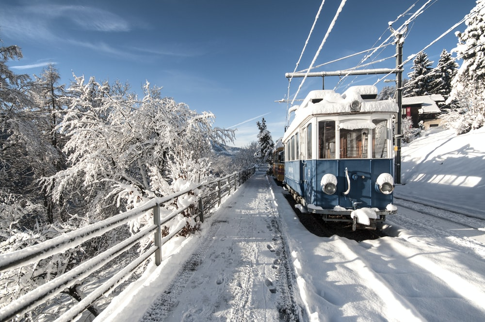 snow covered rail train