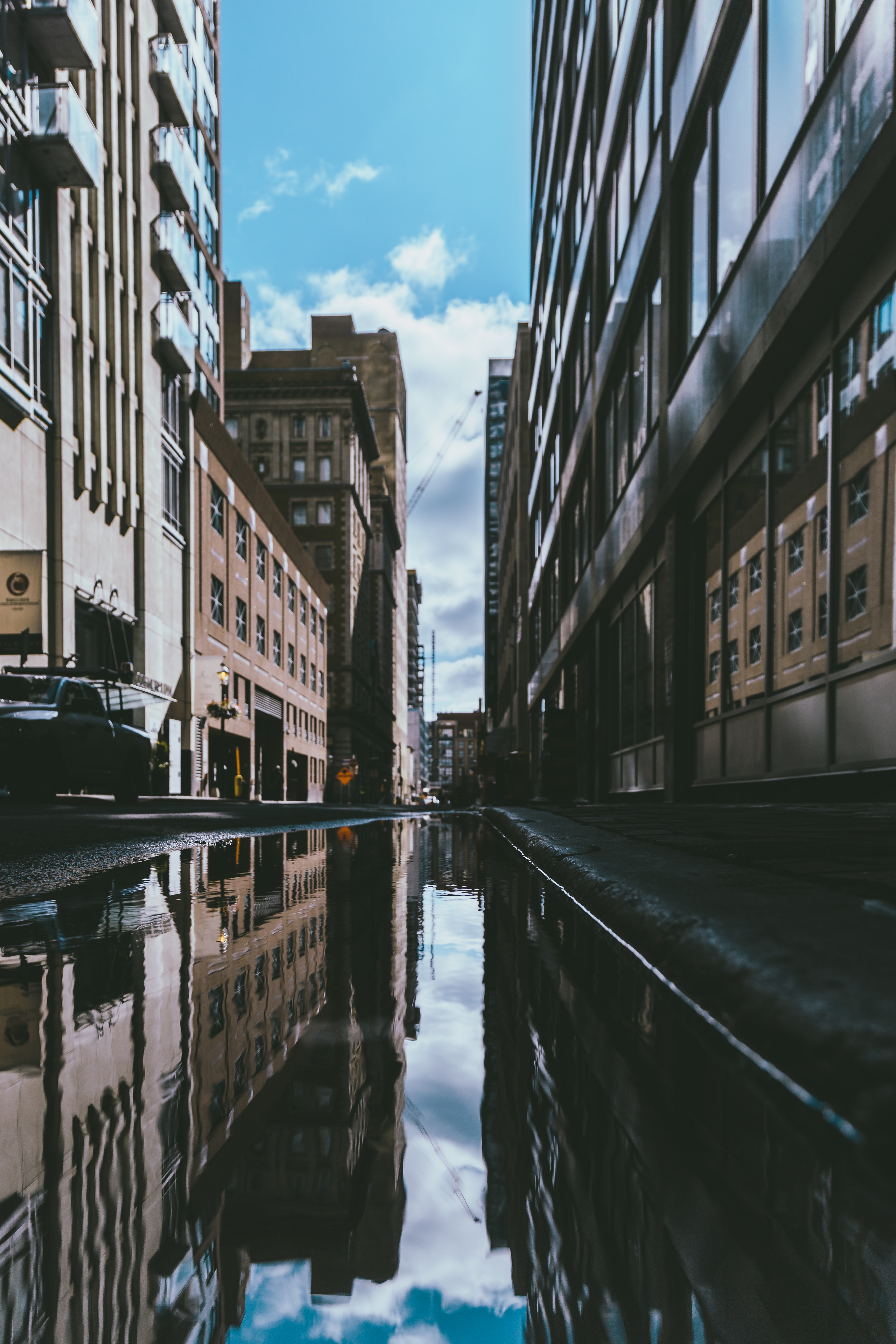photography of body of water on street