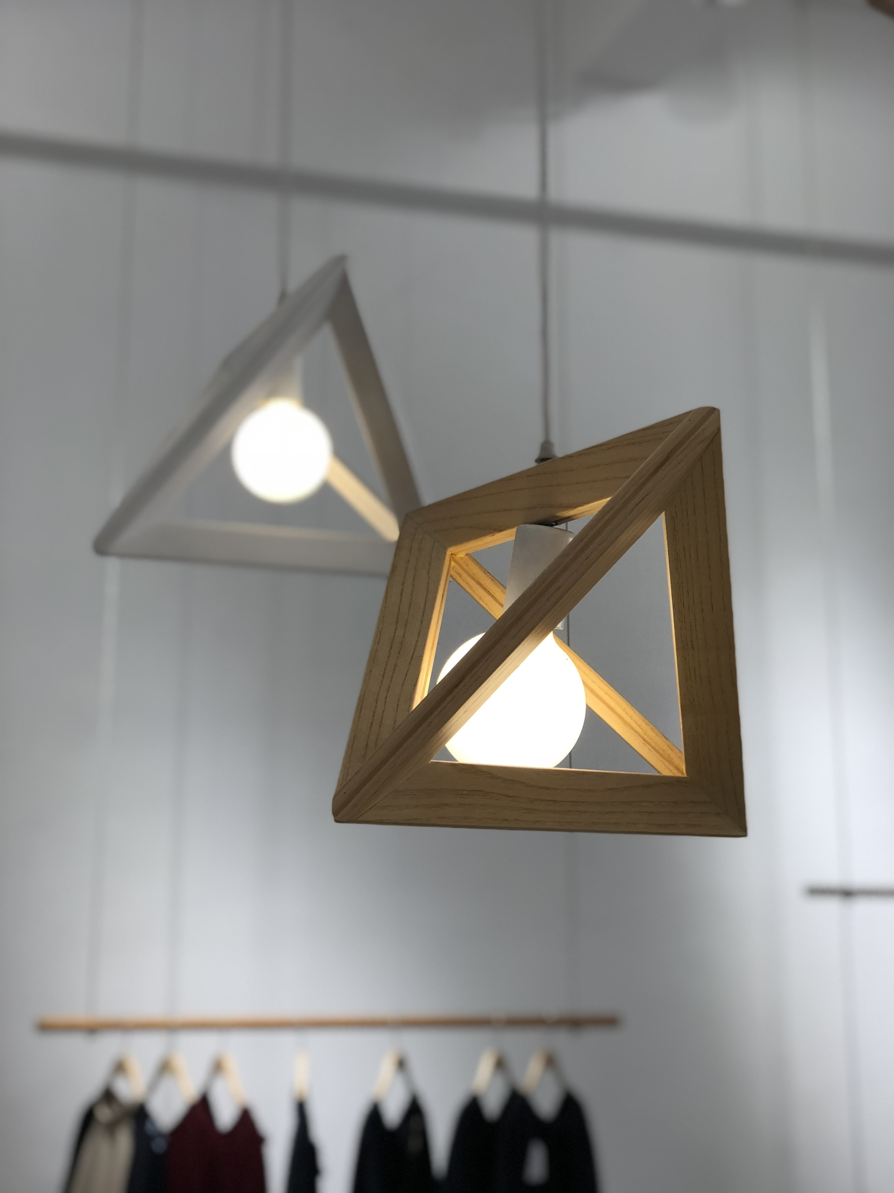 closeup photo of brown and white pendant lamp