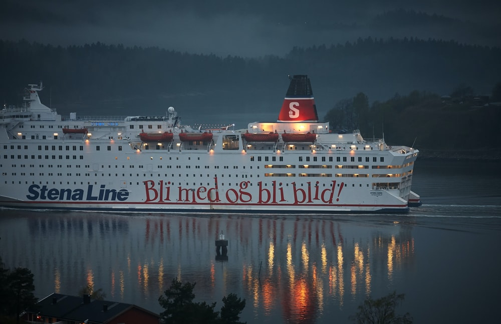 white Stena Line cruise ship in body of water