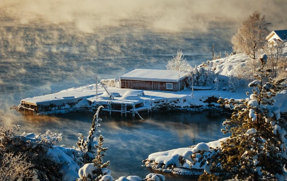 brown house near lake during daytime